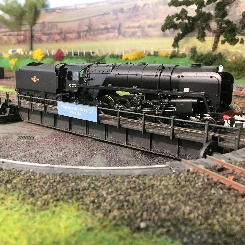 Model railway 00 gauge 9F on the turntable