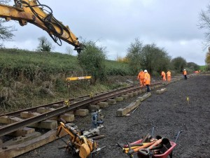Lifting rails into position on the P-Way - Chilcompton - Somerset and Dorset railway