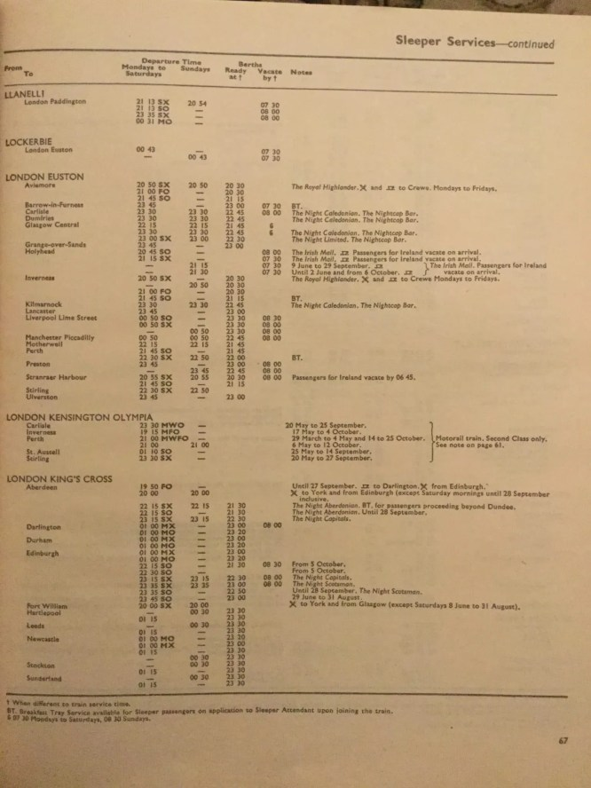 Caledonian Sleeper heritage - timetable from the 1970s