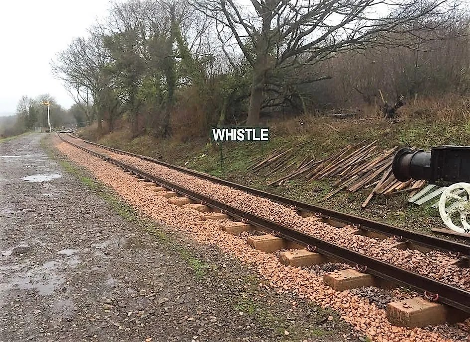 Whistle Board replaced as part of the Somerset and Dorset Railway extension