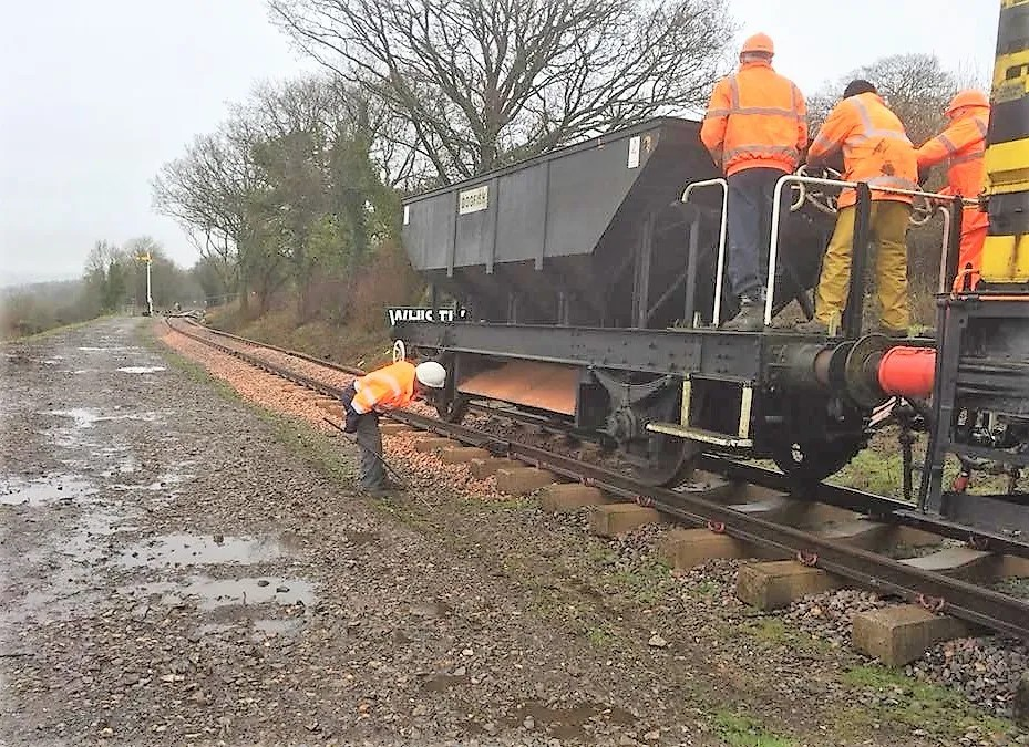 Dogfish Hopper wagon relaying track Somerset and Dorset Railway
