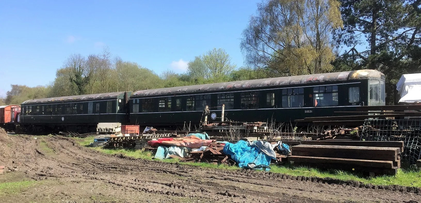 Class 104 DMCL M50531 and DMBS M50479 in yard at Horsehay Telford Steam Railway