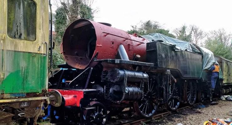 Locomotive 80150 down Alresford headshunt on the Watercress Line