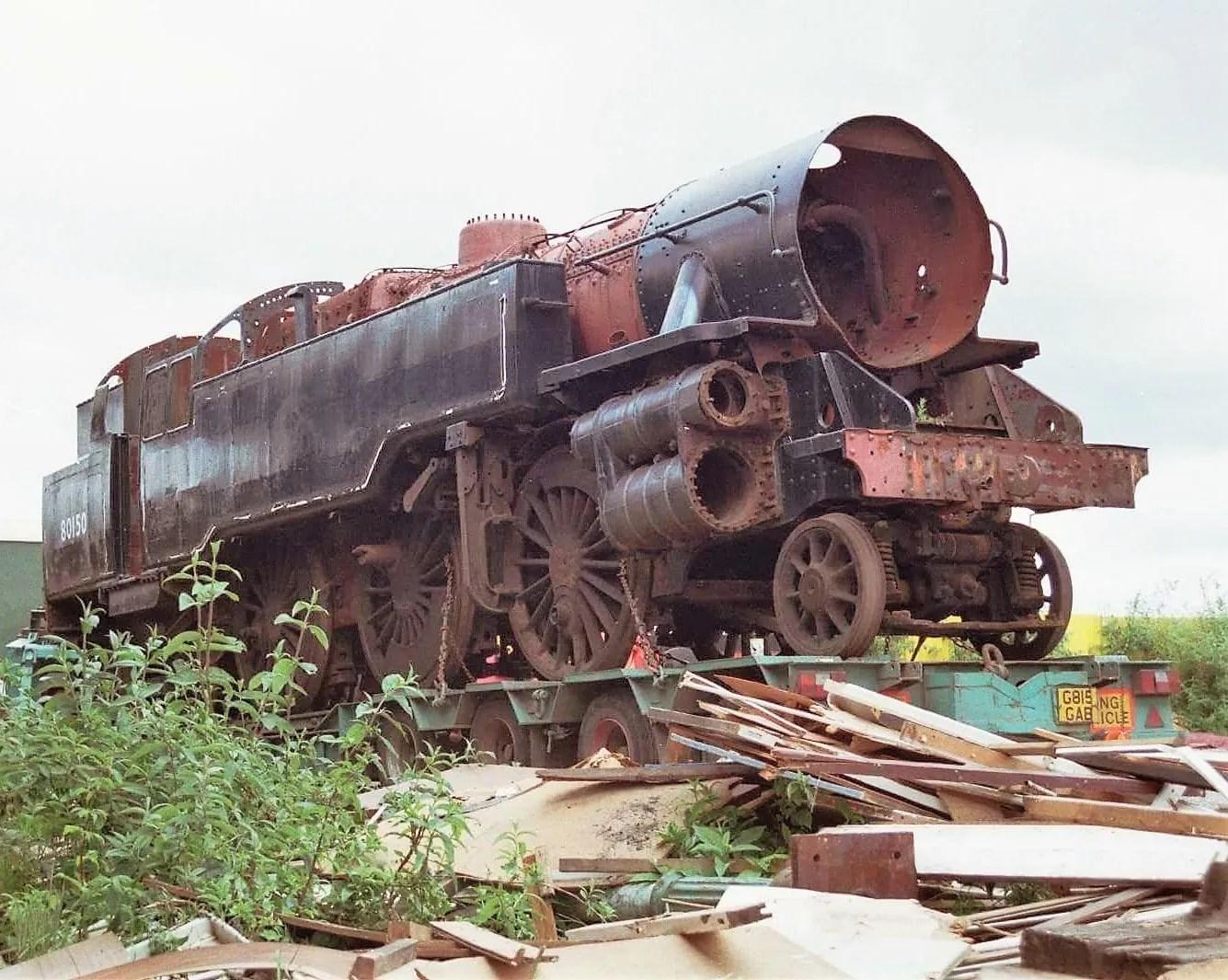 steam locomotive 80150 on trailer