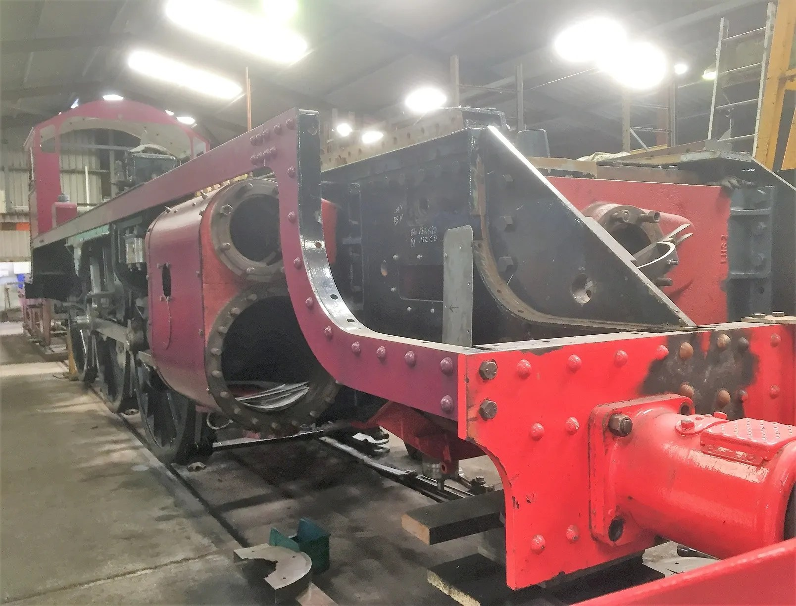 LMS Fowler Patriot 5551 The Unknown Warrior in the Workshops at the Llangollen Railway
