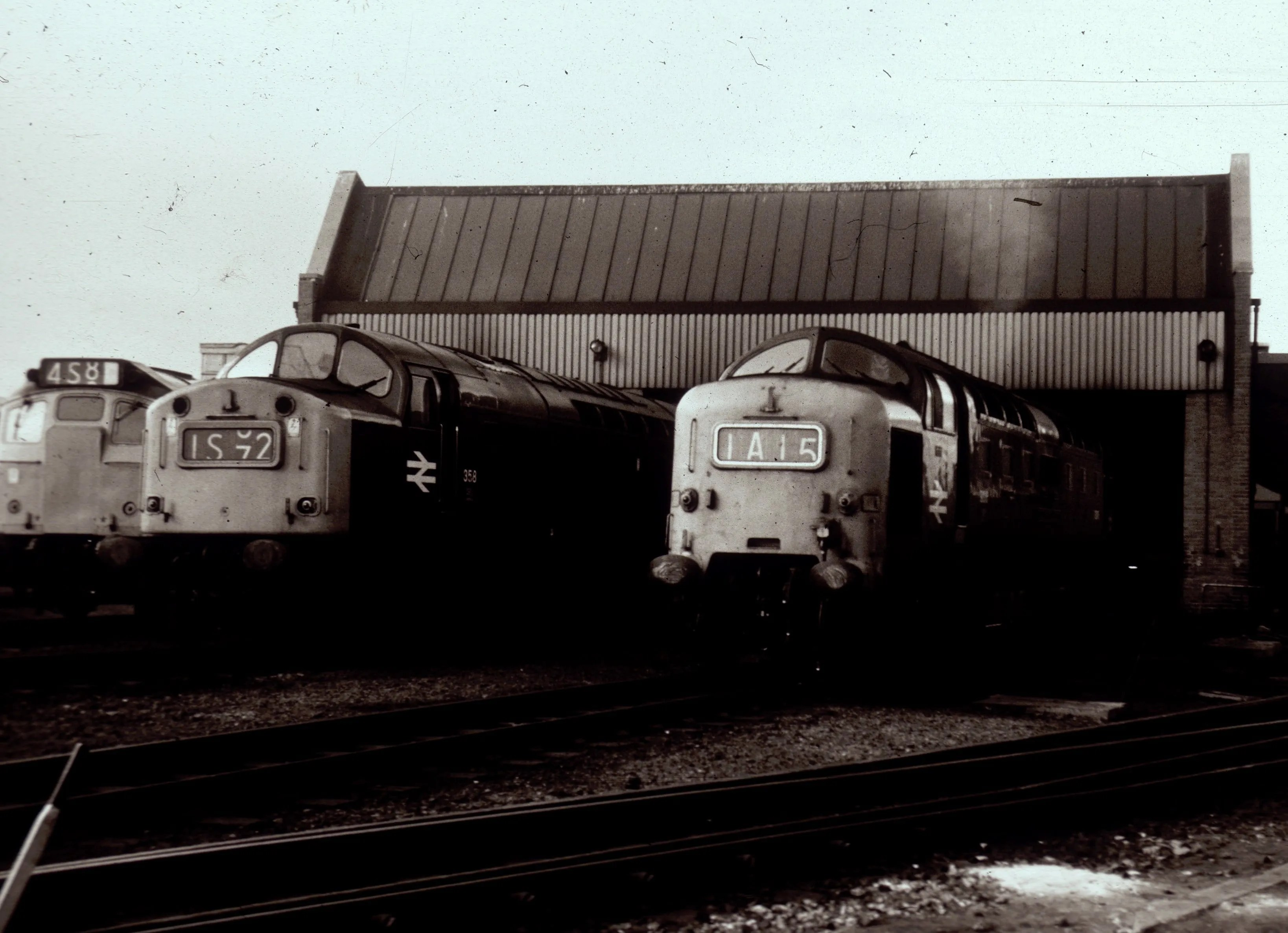 Deltic in company of Class 40 and 25 locomotives at Haymarket Depot