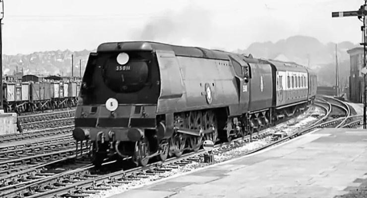 General Steam Navigation steam locomotive 35011 at Salisbury circa 1957