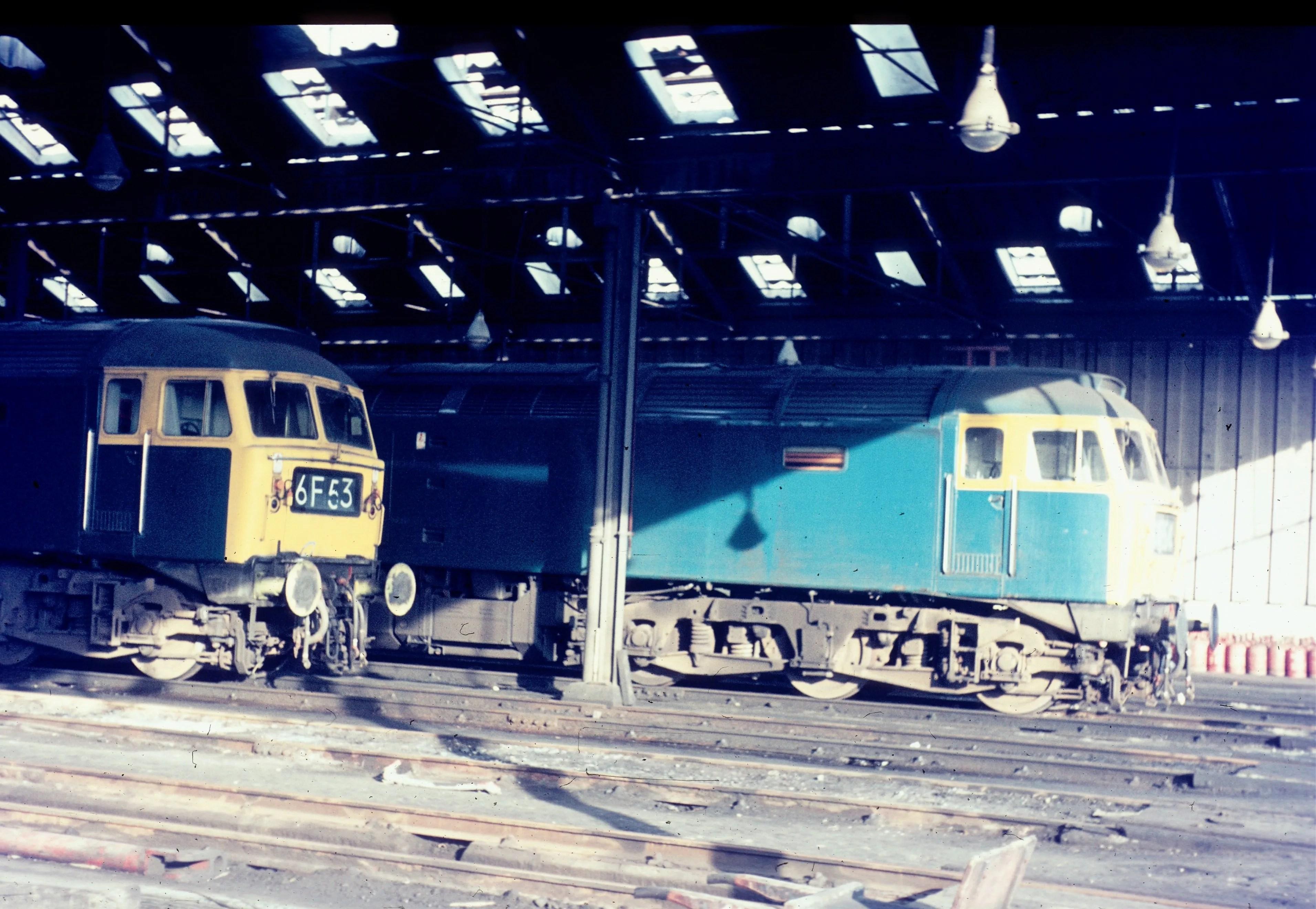 Pair of Class47s diesel locomotives at Polmadie depot