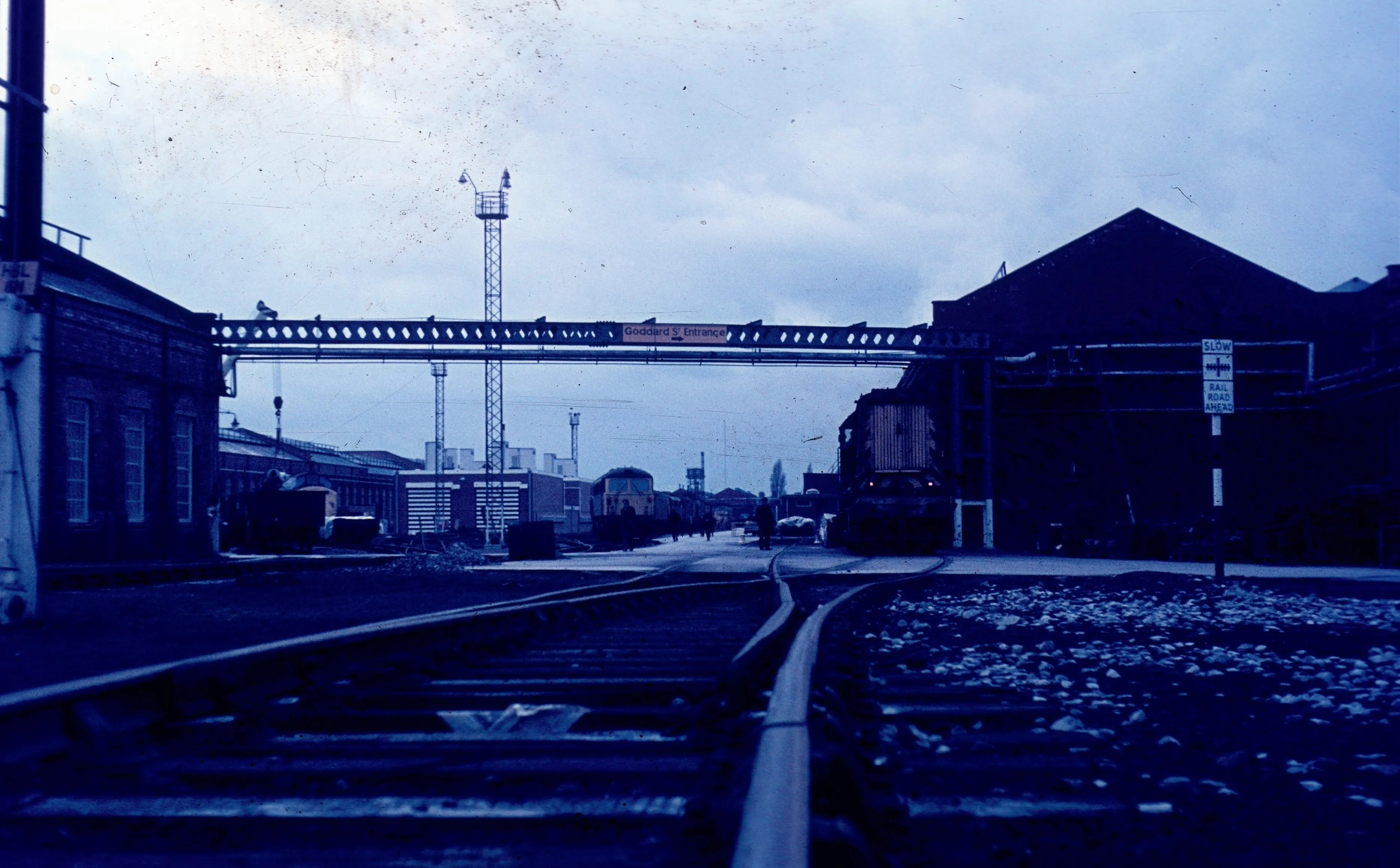 Tracks adjacent to traverser in Crewe Works over which locomotives arrived and departed