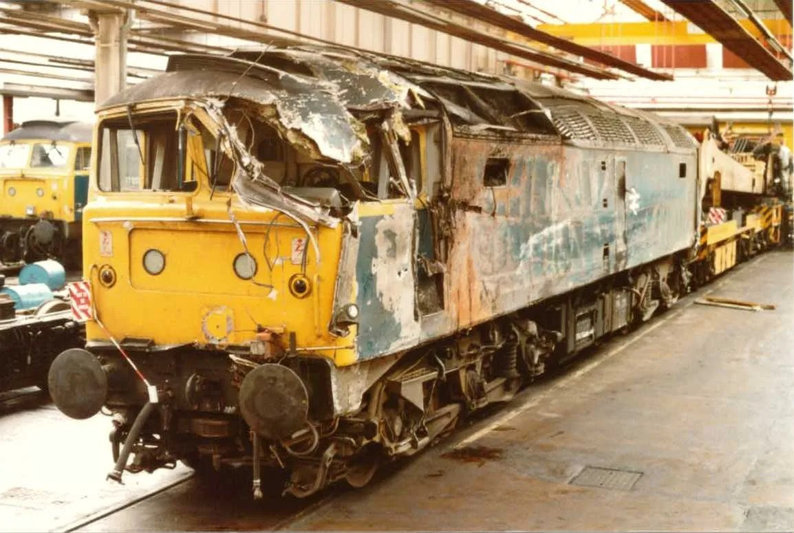 Class 47 47452 diesel locomotive that has sustained damage Morpeth derailment