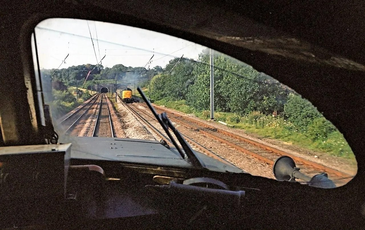view from cab of a Deltic Class 55 locomotive