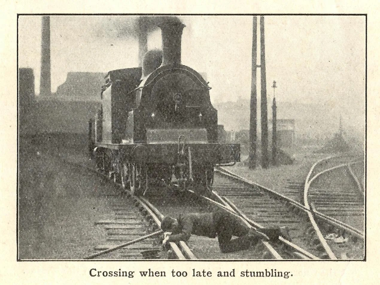 historical photos of a railway accident where a man trips over railway track