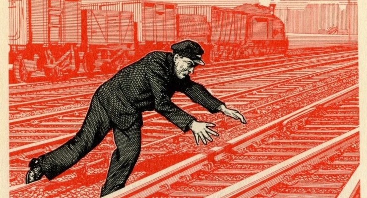 railway accident - historical warning poster