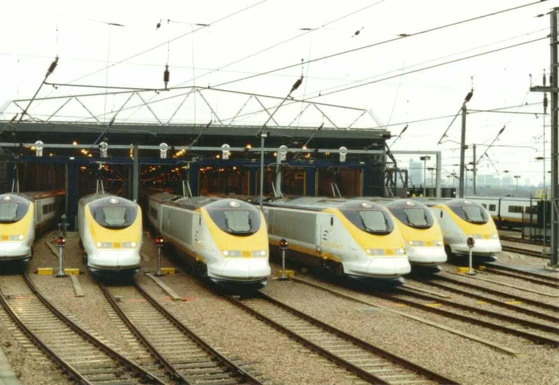 Eurostar fleet at North Pole Depot 1994 -  railway memories