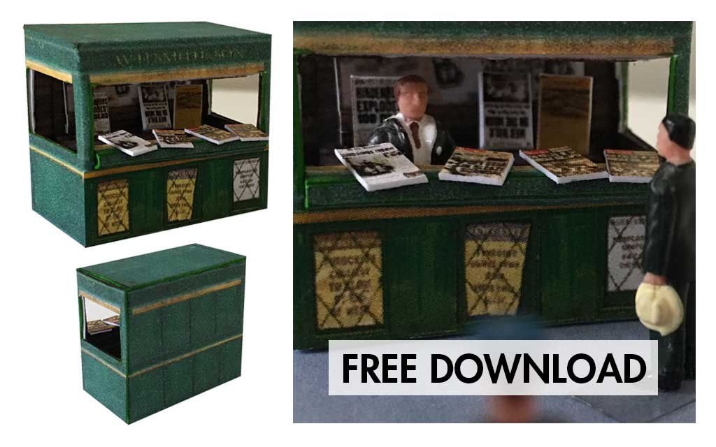 FREE DOWNLOAD – Newspaper Stand 001 – OO Scale