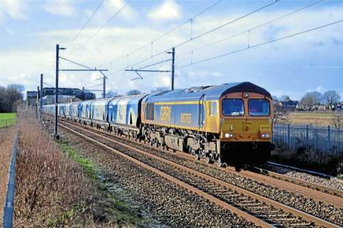 The Lynemouth contract adds another biomass string to GBRf's bow. On January 15,  Class 66 No. 66765 passes Rainhill with the 08.20 Liverpool Biomass Terminal-Drax Power Station run. DOUG BIRMINGHAM