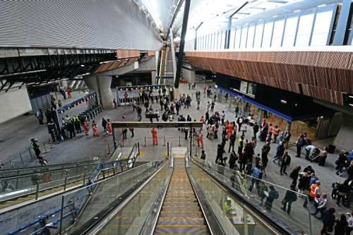 Volunteers from Network Rail, Southern, Southeastern and the Department for Transport took part in a special London Bridge Challenge to test the station's new concourse, platforms and facilities ahead of the August 29 opening. This view was taken from the top of one of the escalators. NETWORK RAIL
