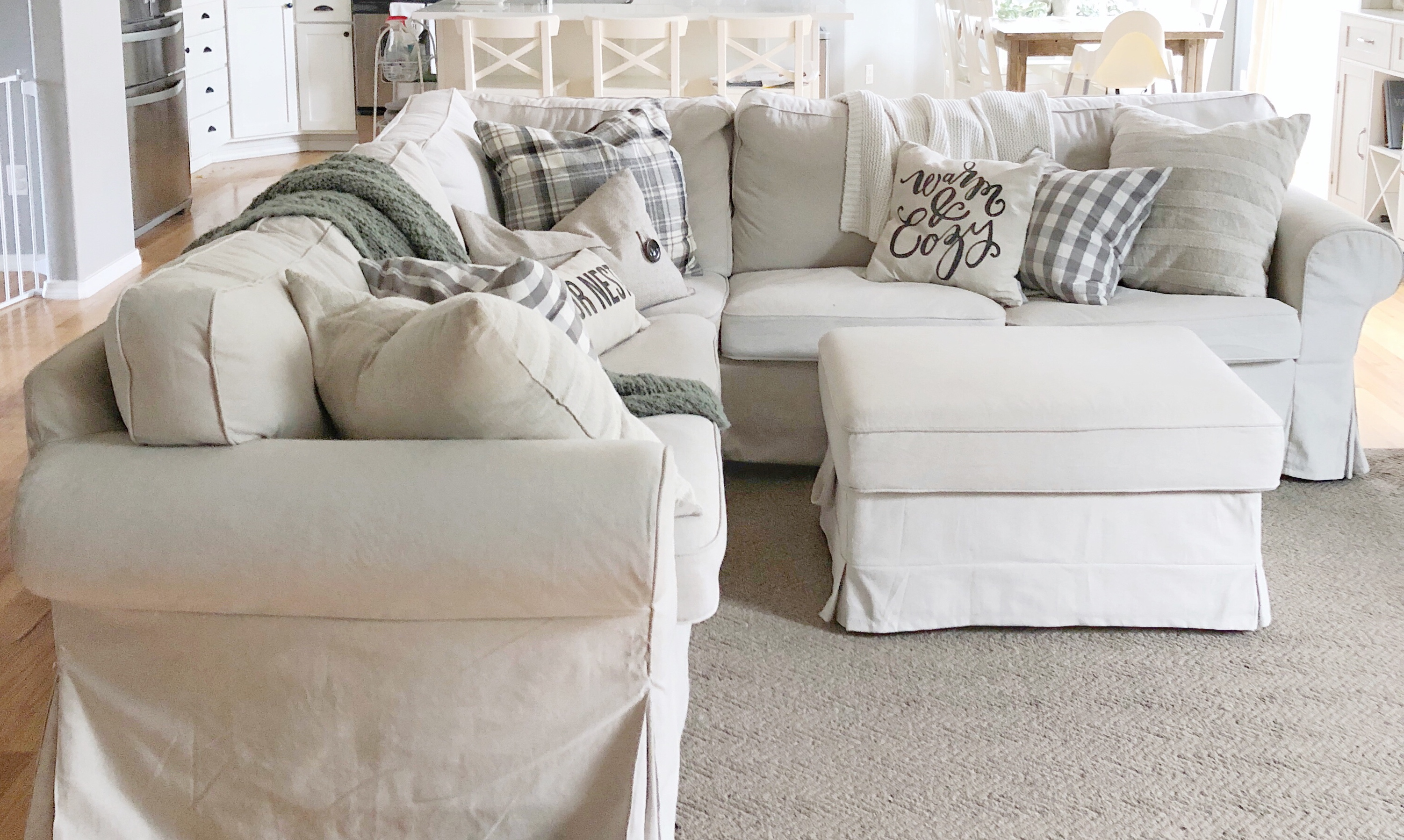 IKEA Ektorp Beige Slipcovered Couch Care {An easy & fast cleaning