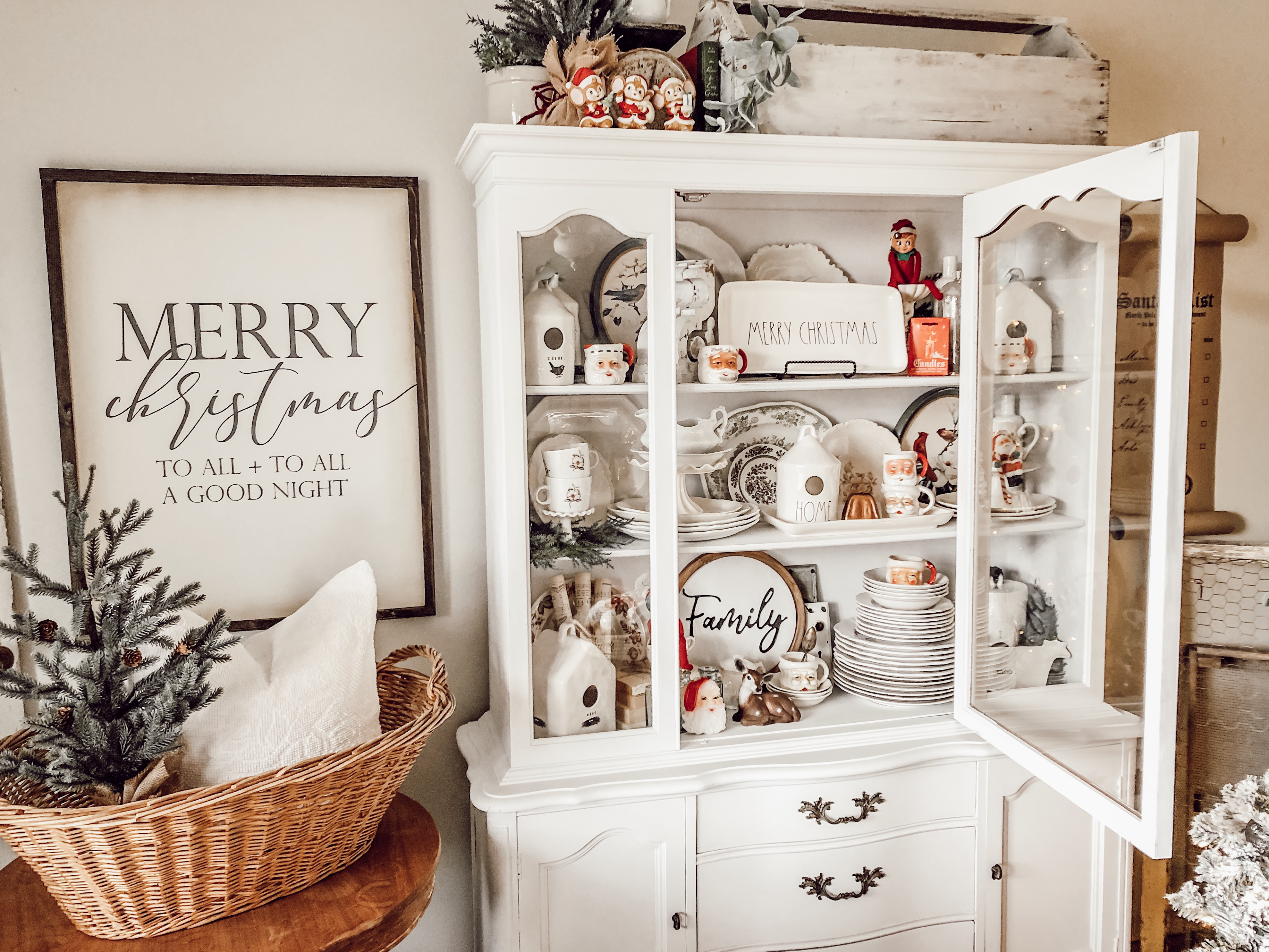 Styling a Farmhouse Hutch with Vintage Christmas Decor ...