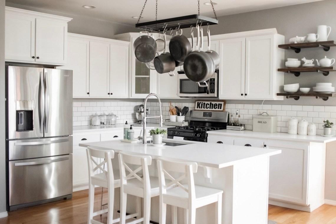 A Bright Modern Diy White Farmhouse Kitchen Makeover Rain And Pine