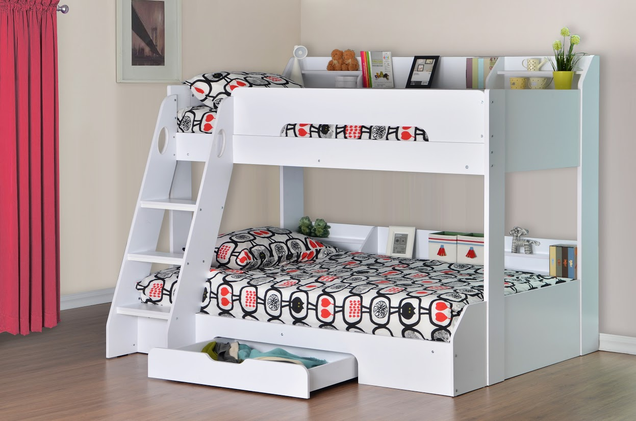 Flick Triple Bunk Bed In White Rainbow Wood