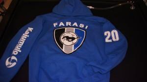Four color screen printed Farasi soccer hoodies.
