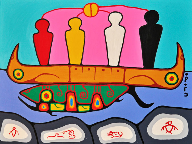 A depiction of the Four Spiritual Grandfathers standing in a canoe on the back of a sea creature.