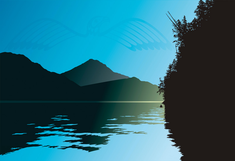 Distant hills frame calm waters with the forest silhouetted on the right and a First Nations bird motif in the sky.