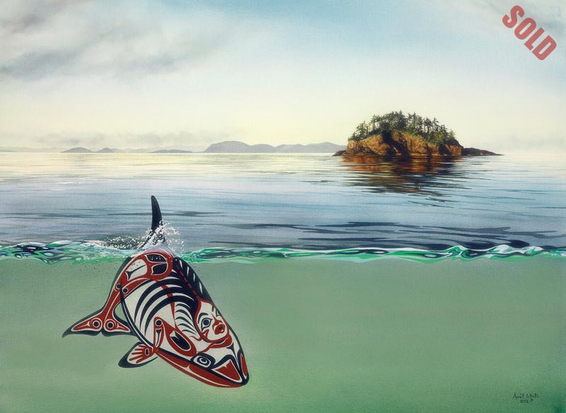 A First Nations motif killer whale swims in the ocean with a sunlight island and coastline in the distance.