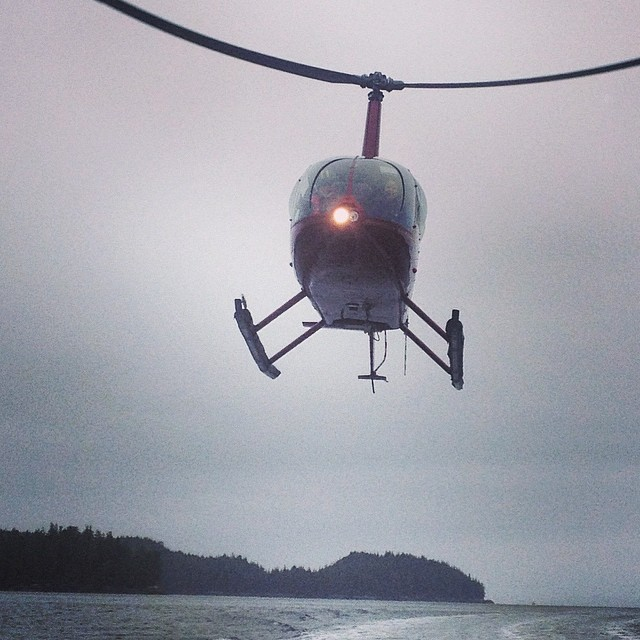 Boat-heli tag team