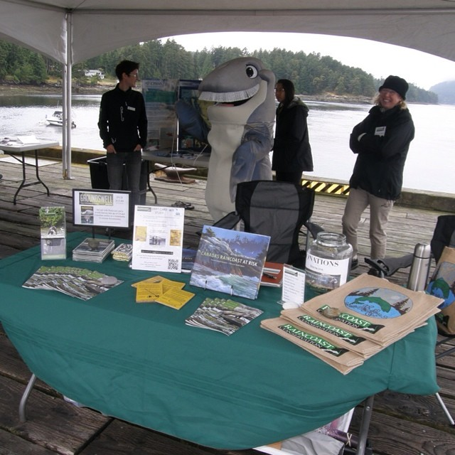 three raincoast staff stand behind a table with a green tablecloth, a foldout display of marine mammals and other information laid out on the table with the Salish Sea in the background