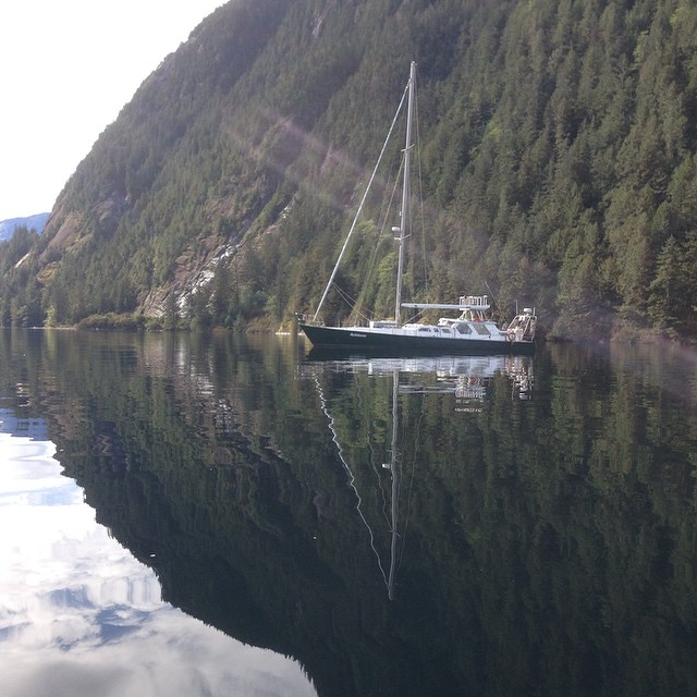 Raincoast Conservation research vessel Achiever at anchor near Kynoch