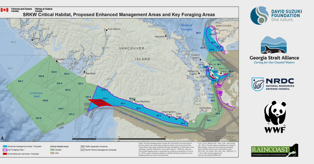 A map of key foraging areas and no go zones with critical habitat, and logos of partner orgs on the side.