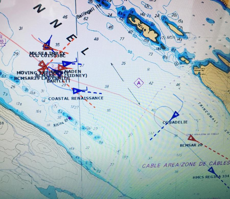 A digital map with many scattered blue and red triangles in a channel marking the location of boats.