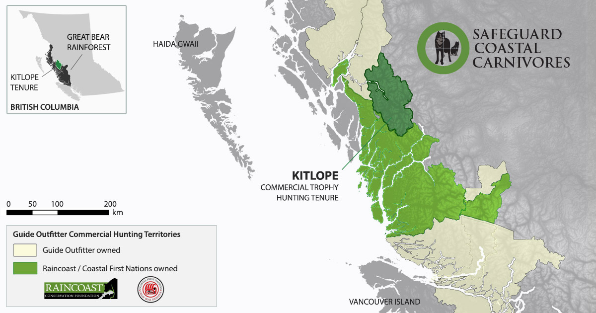 Map of the Kitlope commercial hunting tenure in the Great Bear Rainforest, BC.