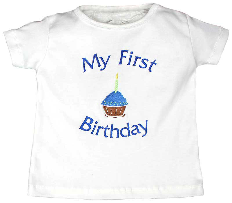 My First Birthday Boy T Shirt Royal Raindrops Baby