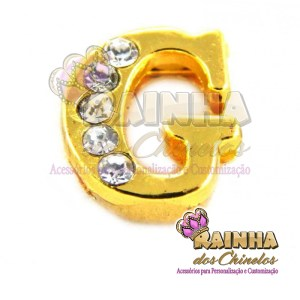 Letra Dourada Com Strass Cristal G