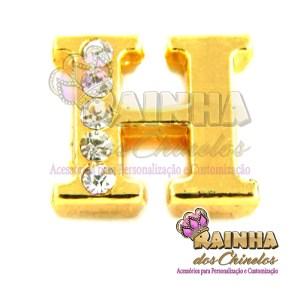 Letra Dourada Com Strass Cristal H