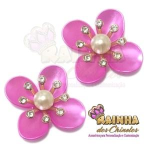 Flor ABS Rosa Pink Strass Cristal