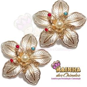 Flor ABS Dourada e Creme Strass Colorido