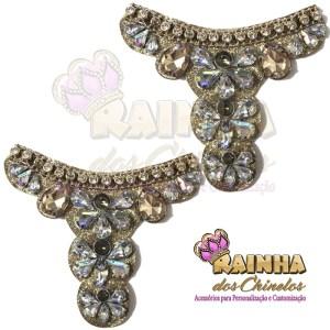 Cabedal Glitter Pedras Furta-Cor