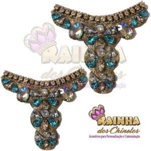 Cabedal Glitter Pedras Azul e Cristal