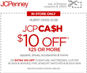 JCPenney 10 Off 25 In Store Purchase Through 1228