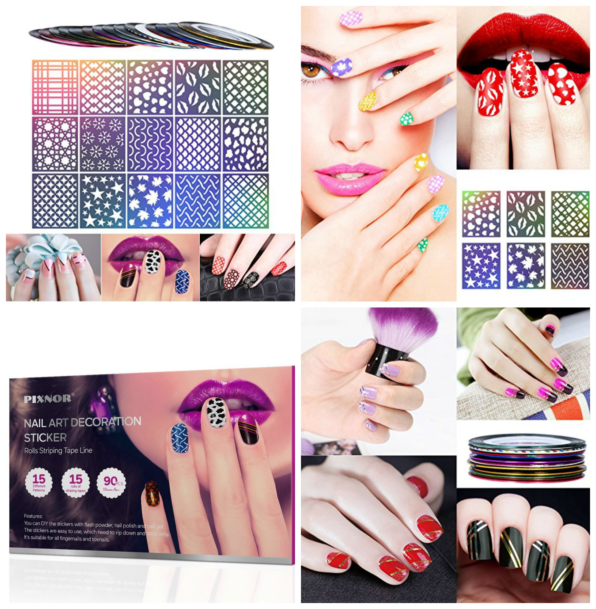 90 Piece Nail Art Decoration Stencil And Stripe Tape Set Only 999