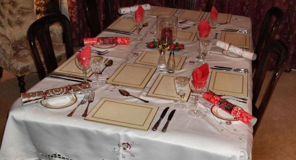 Christmas day dinner table