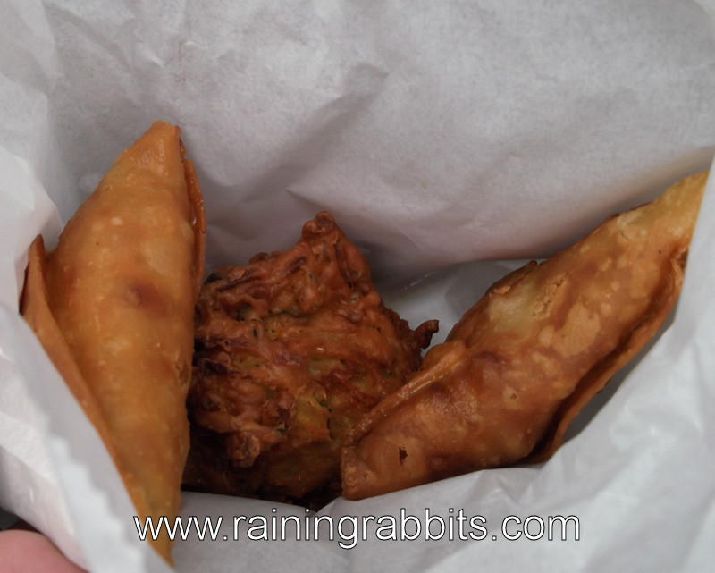 2 samosas and an onion bhaji
