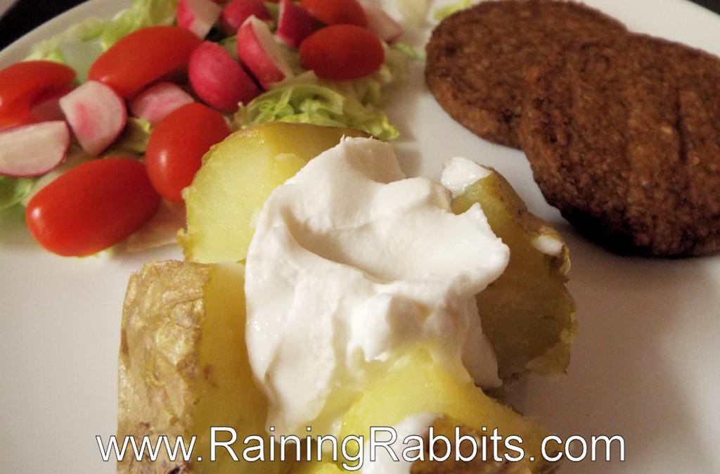salad jacket potato vegan cheese and burgers