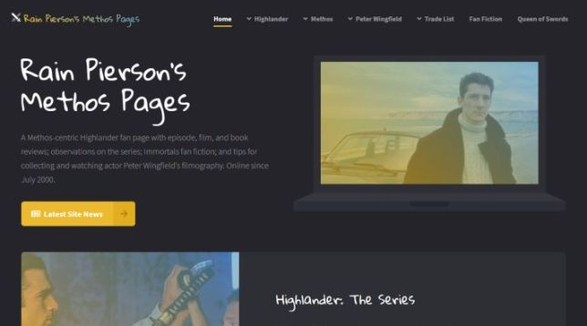 My Methos Pages fan site, 2020 redesign