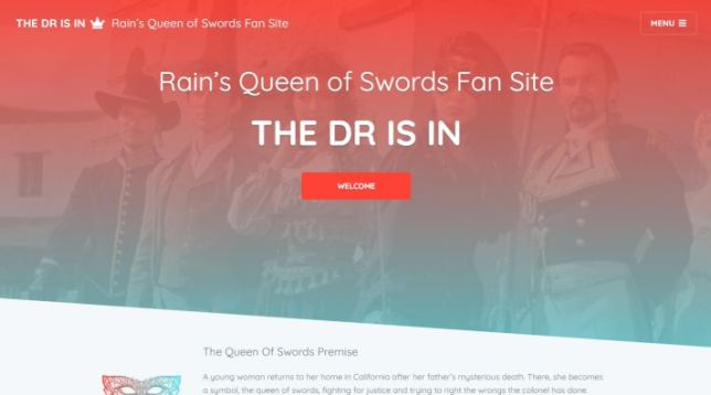 My Queen of Swords fan site, 2020 redesign