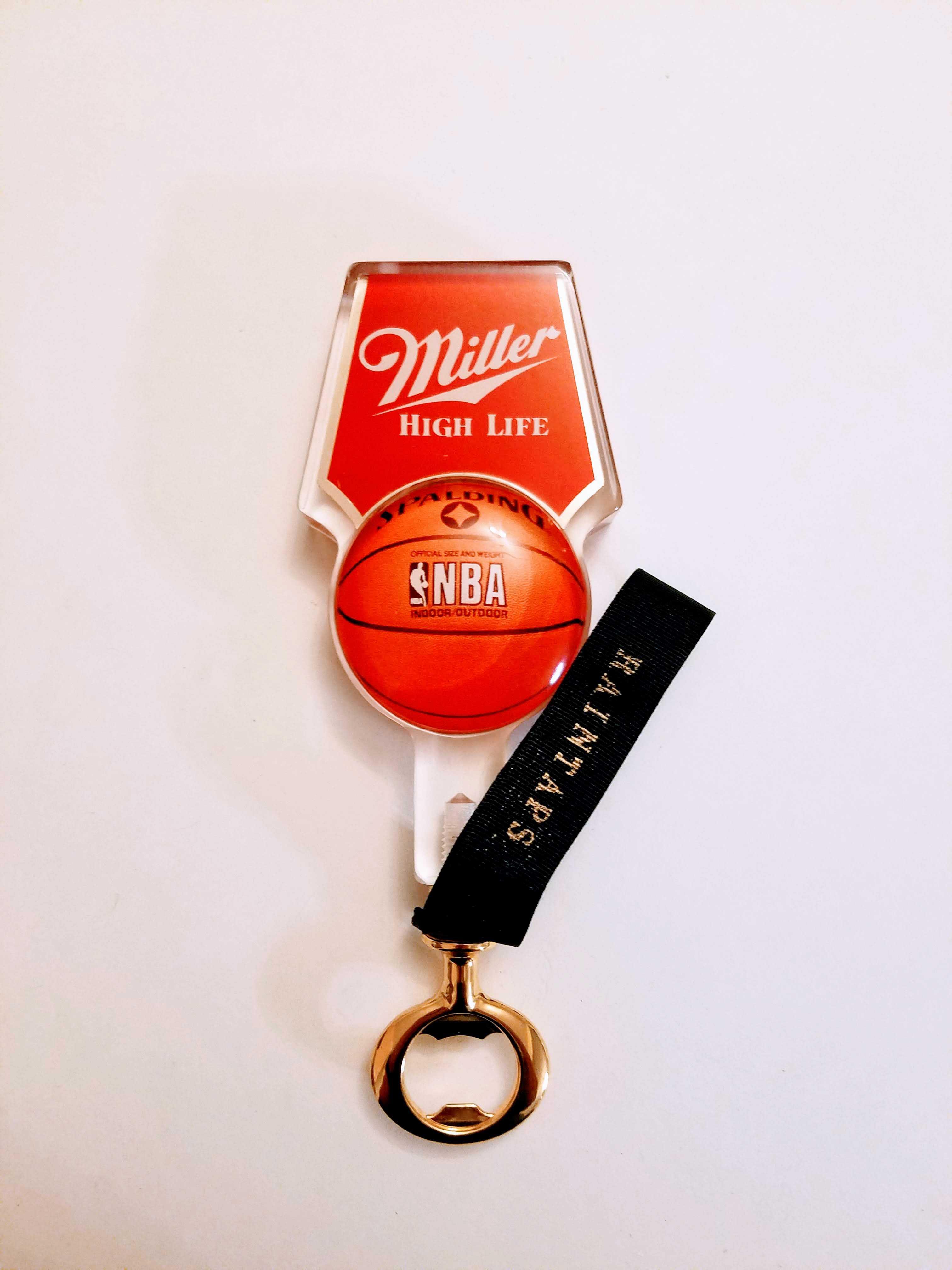 c87ba30a9daec Vintage Miller High Life tap handle bottle opener NBA Spaulding version